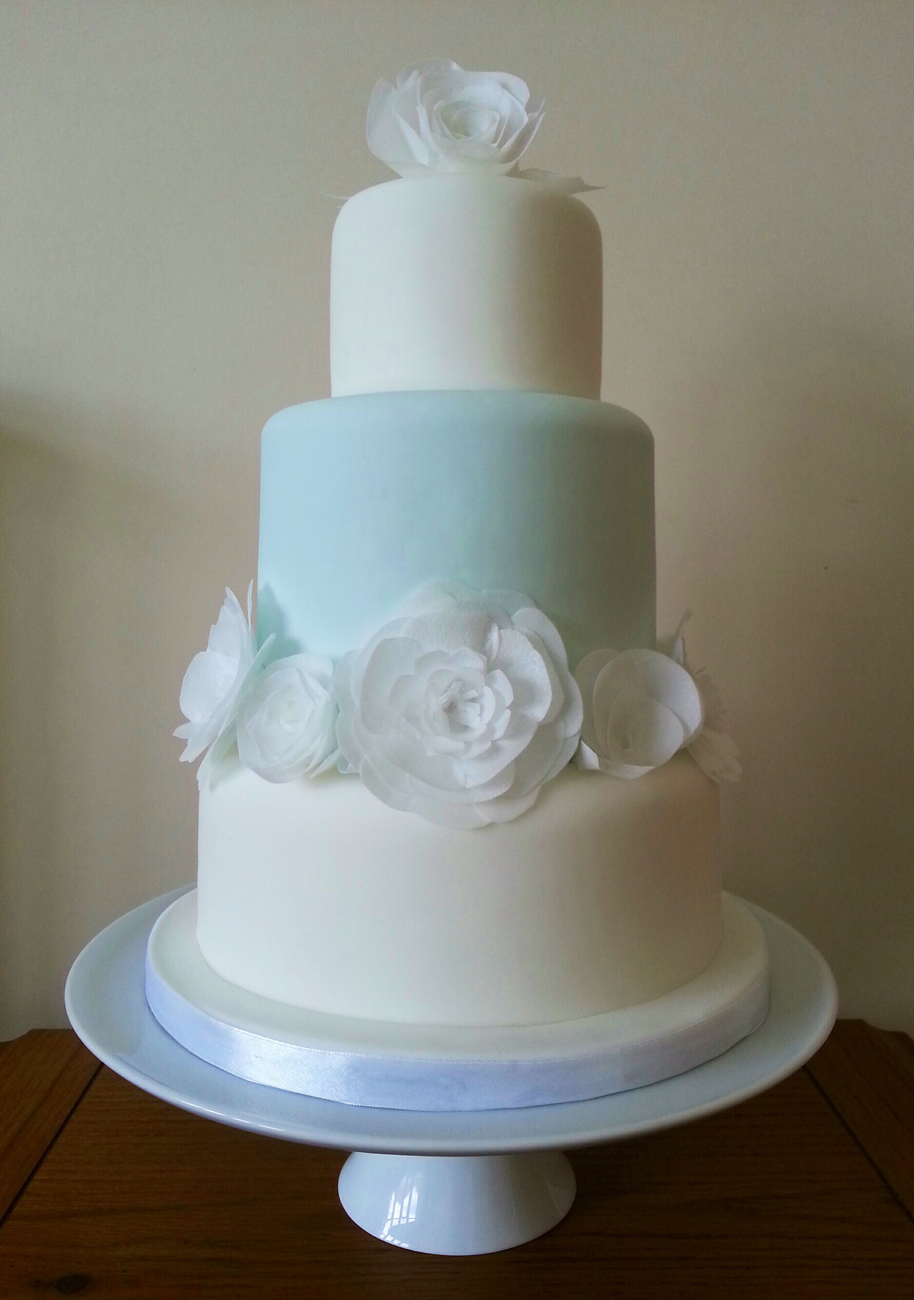 white and mint 3 tier wedding cake piece of cake. Black Bedroom Furniture Sets. Home Design Ideas